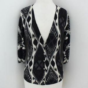 TORY BURCH fine knit Tribal Print cardigan sweater